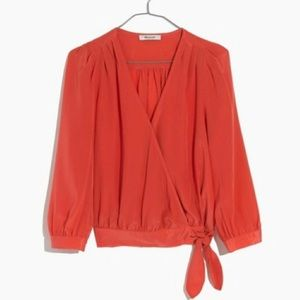 NWT Madewell Silk Wrap Top